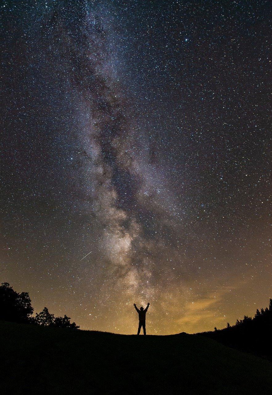 milky way, human, starry sky